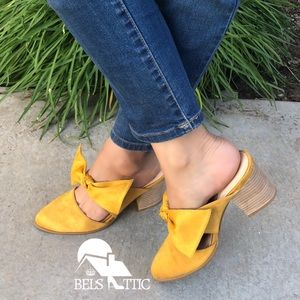Shoes - Mustard Stacked Leather Block Heel Bow Mule